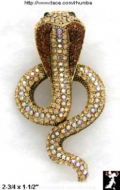 Egyptian Cobra Pin: Rhinestone Snake Asp Pin Brooch Top