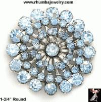 Light Blue vintage rhinestone brooch pin