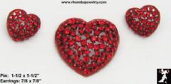 Heart Earrings Brooch Set